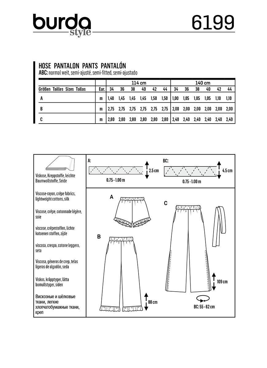 Patron de pantalon - Burda 6199
