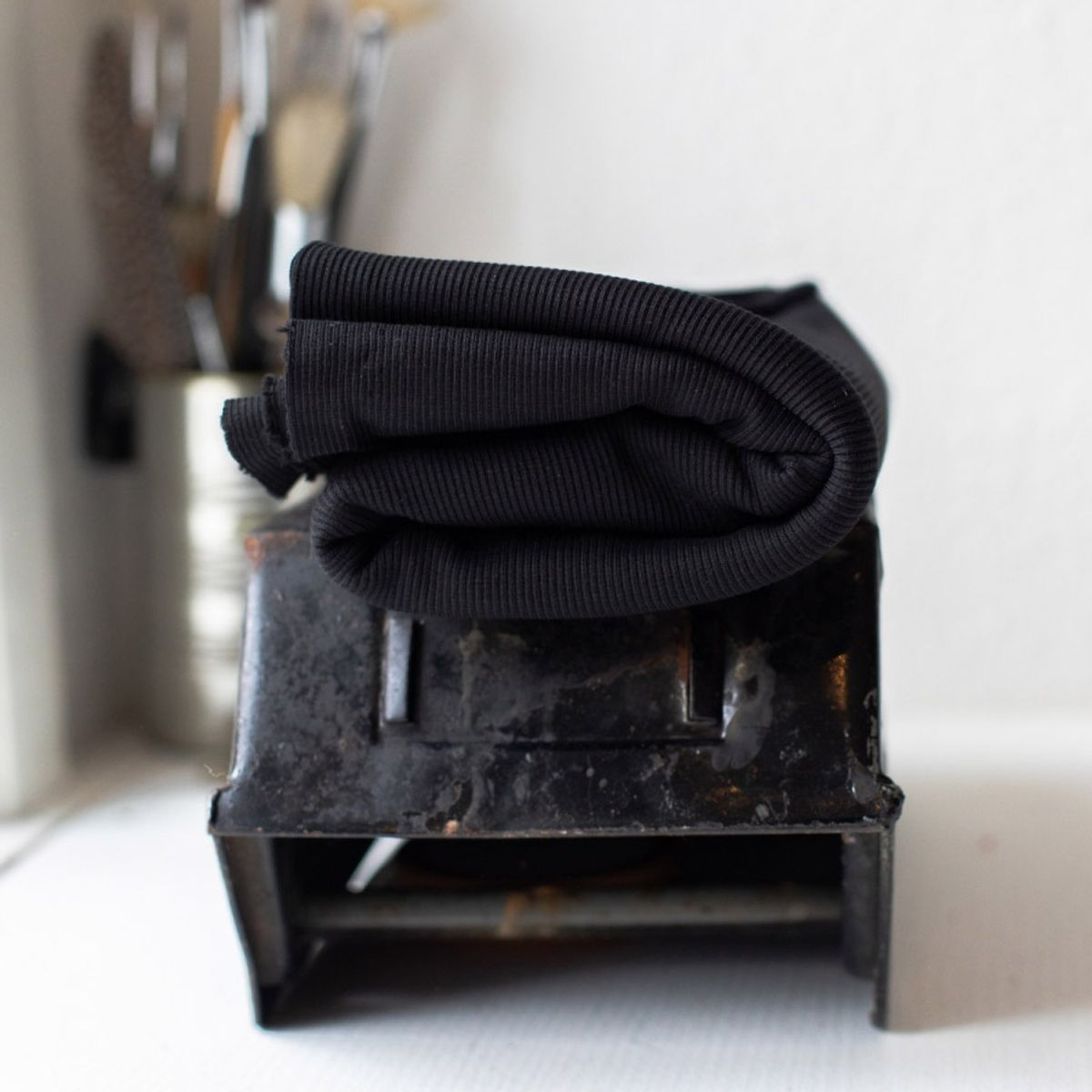 Tissu jersey bord côte côtelé 2x1 BIO - Noir