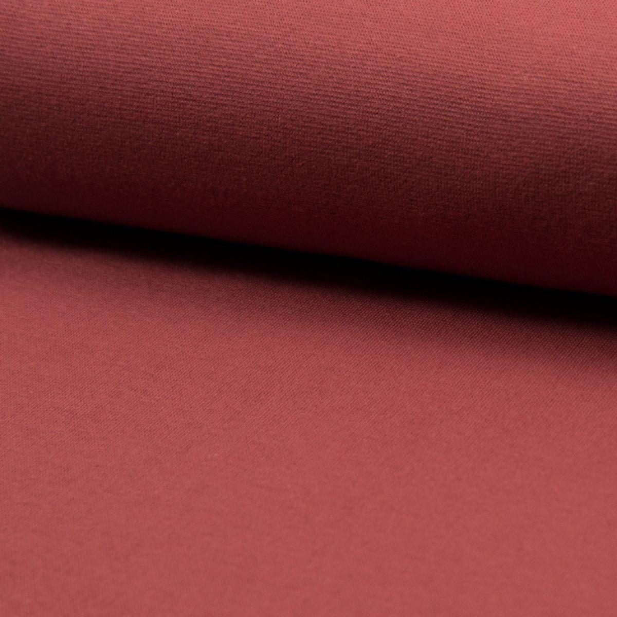 Tissu jersey bord côte BIO - Terracotta
