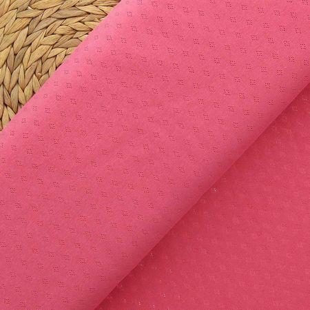 Tissu jersey maille pointelle - Corail