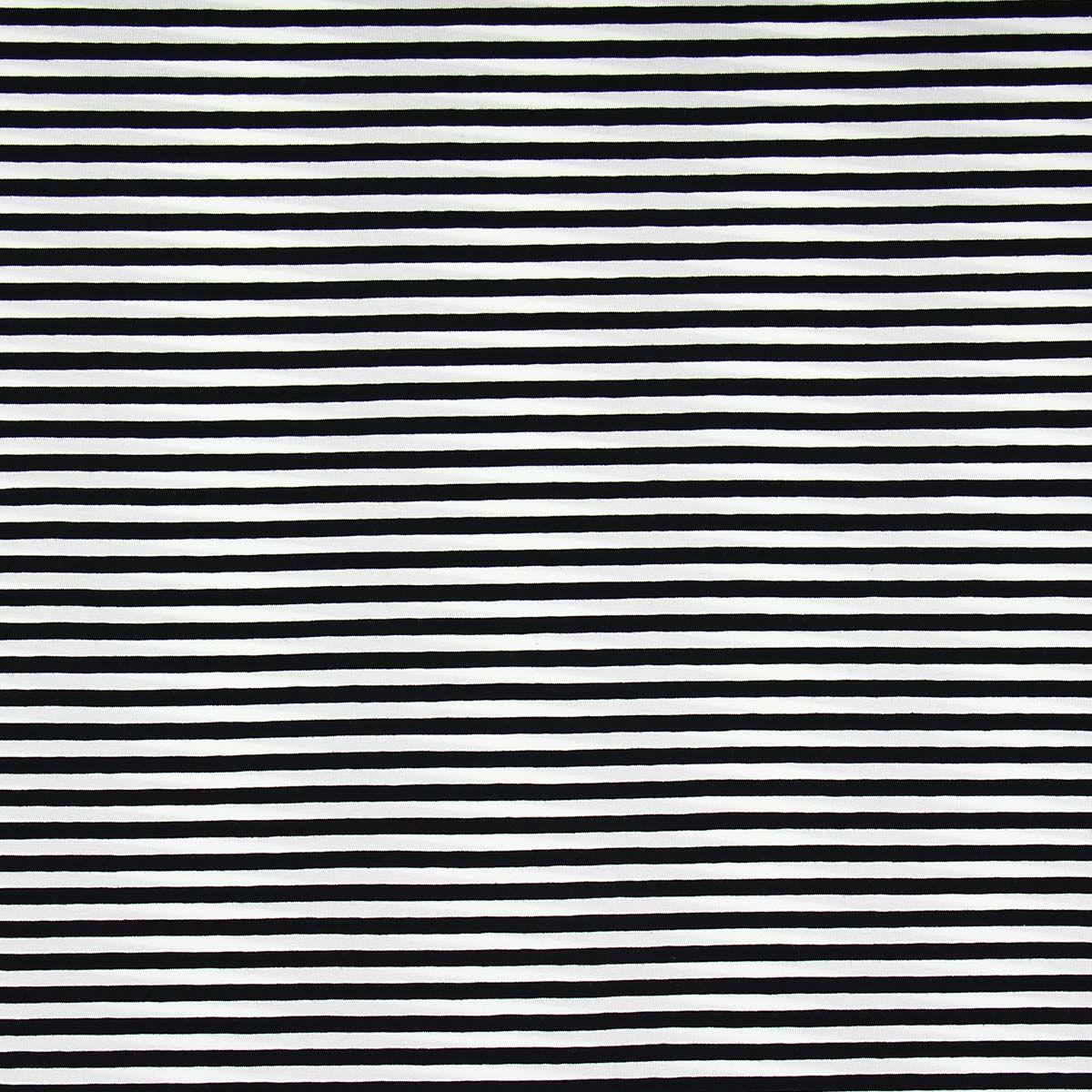 Tissu jersey marinière - Rayures moyennes noires
