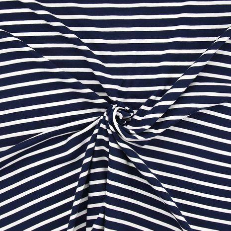 Tissu jersey marinière - Rayures larges bleues