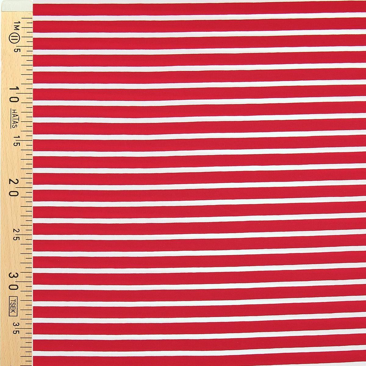 Tissu jersey marinière - Rayures larges rouges