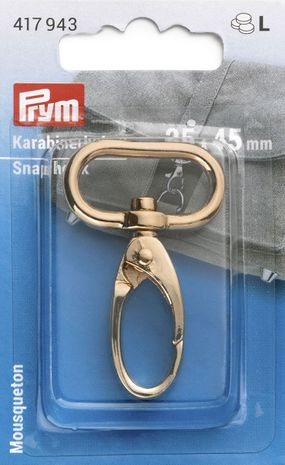Mousqueton métal 25 x 45 mm - Nouvel or