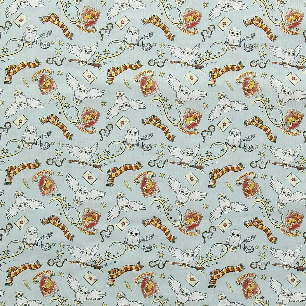 Tissu popeline de coton BIO Harry Potter - Hedwige et Gryffondor