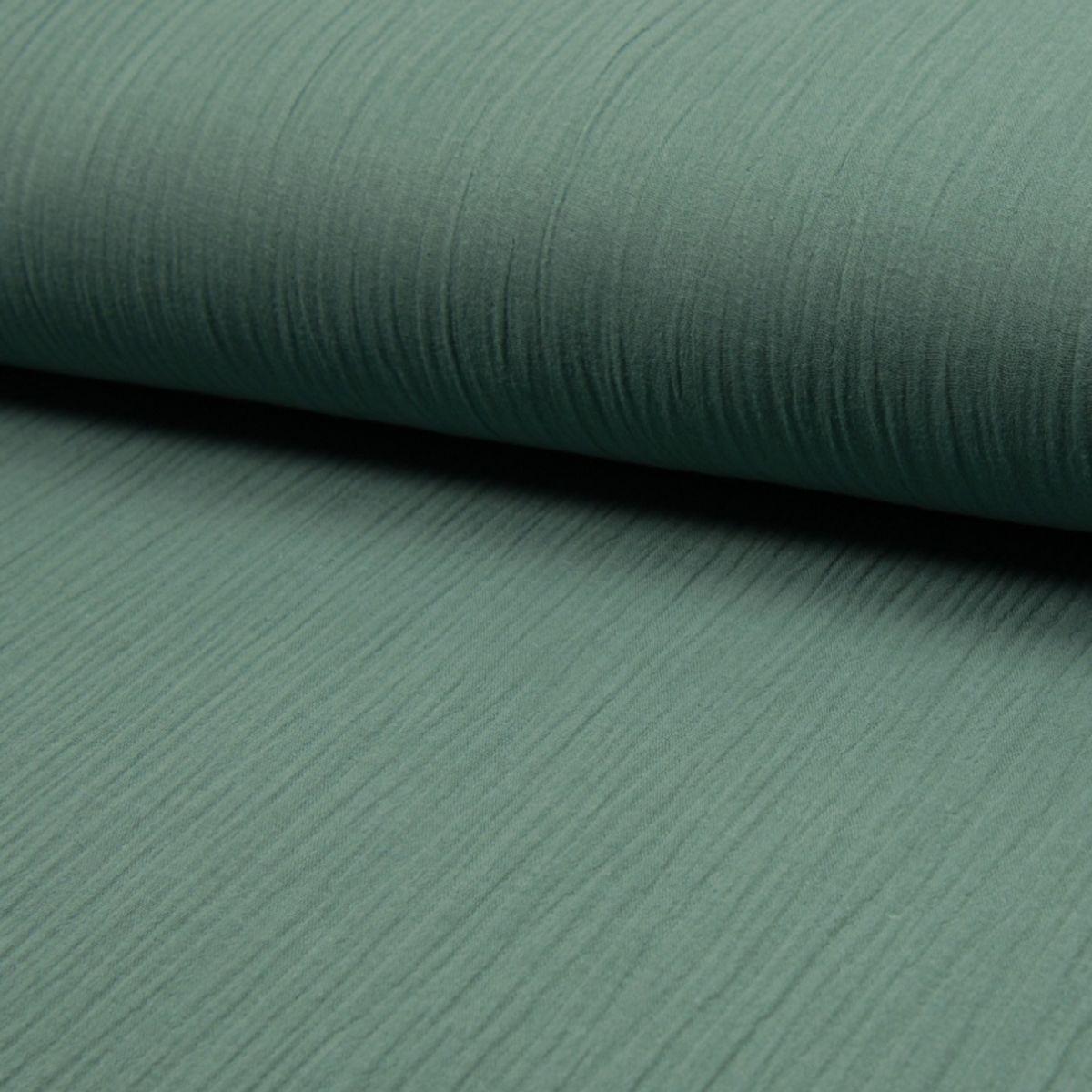 Tissu double gaze de coton - Vert sauge