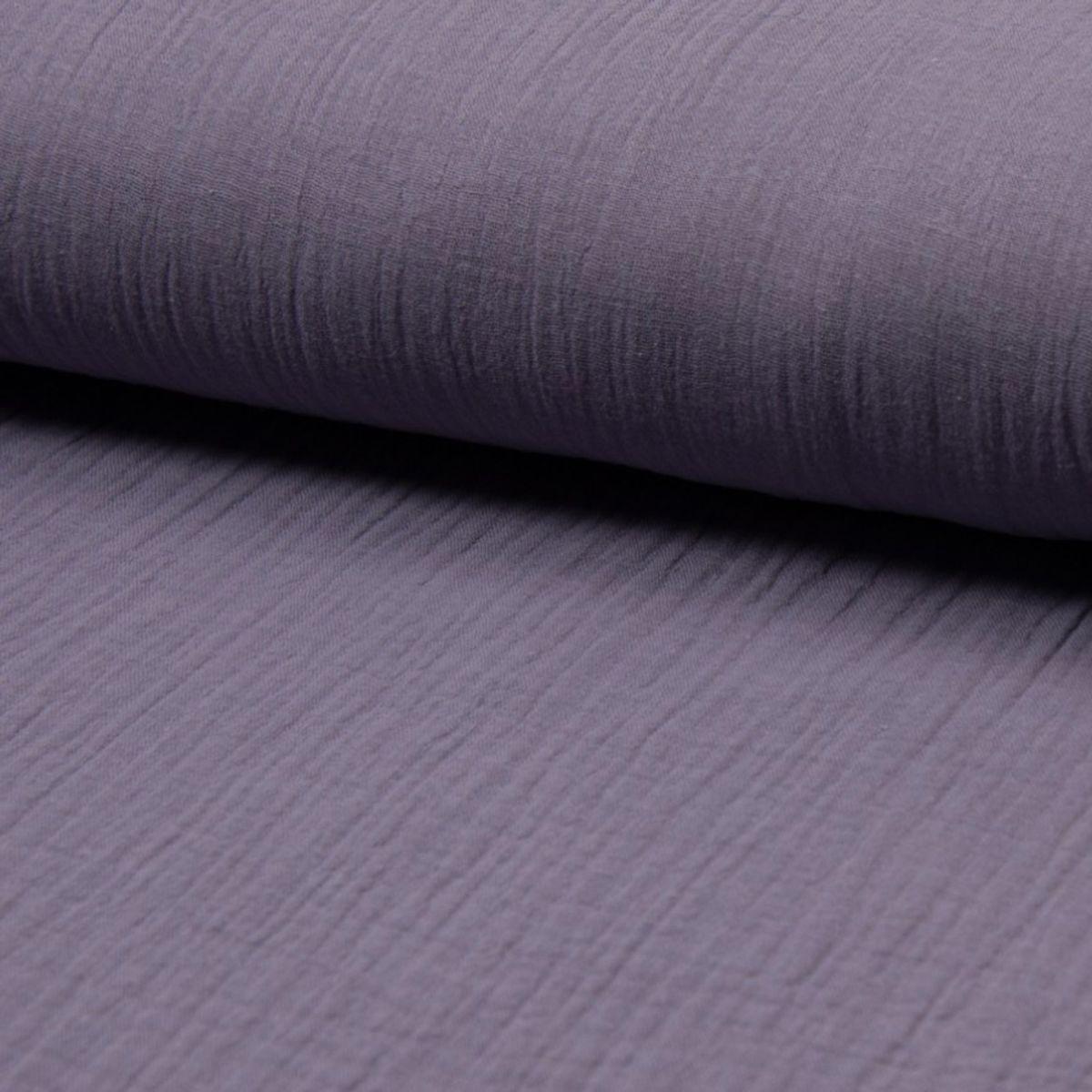 Tissu double gaze de coton - Lilas