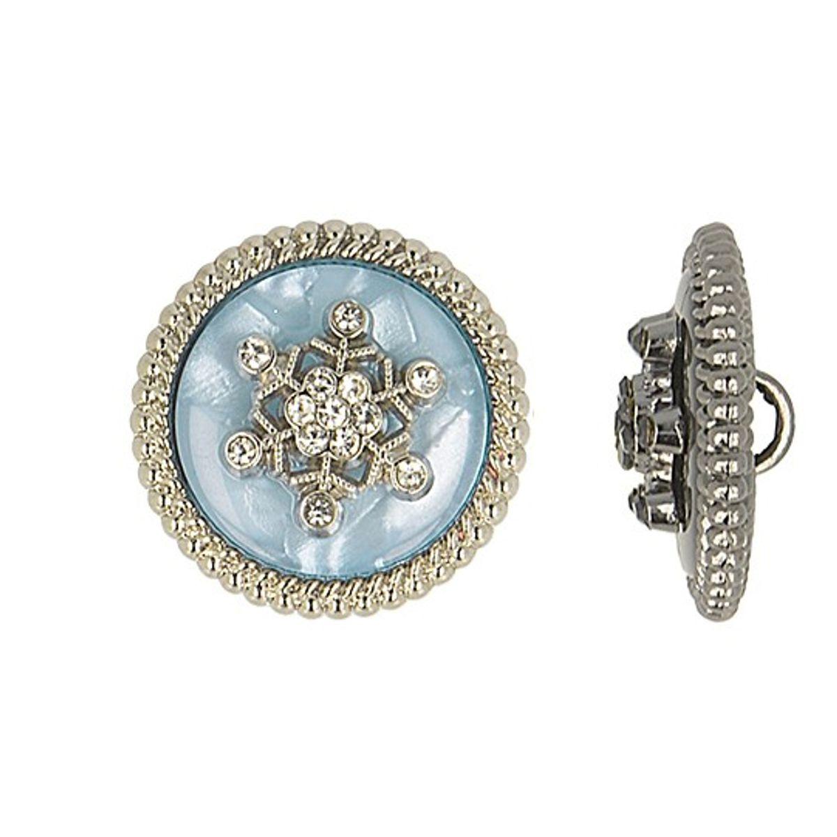 Bouton métal flocon de neige strass - Bleu