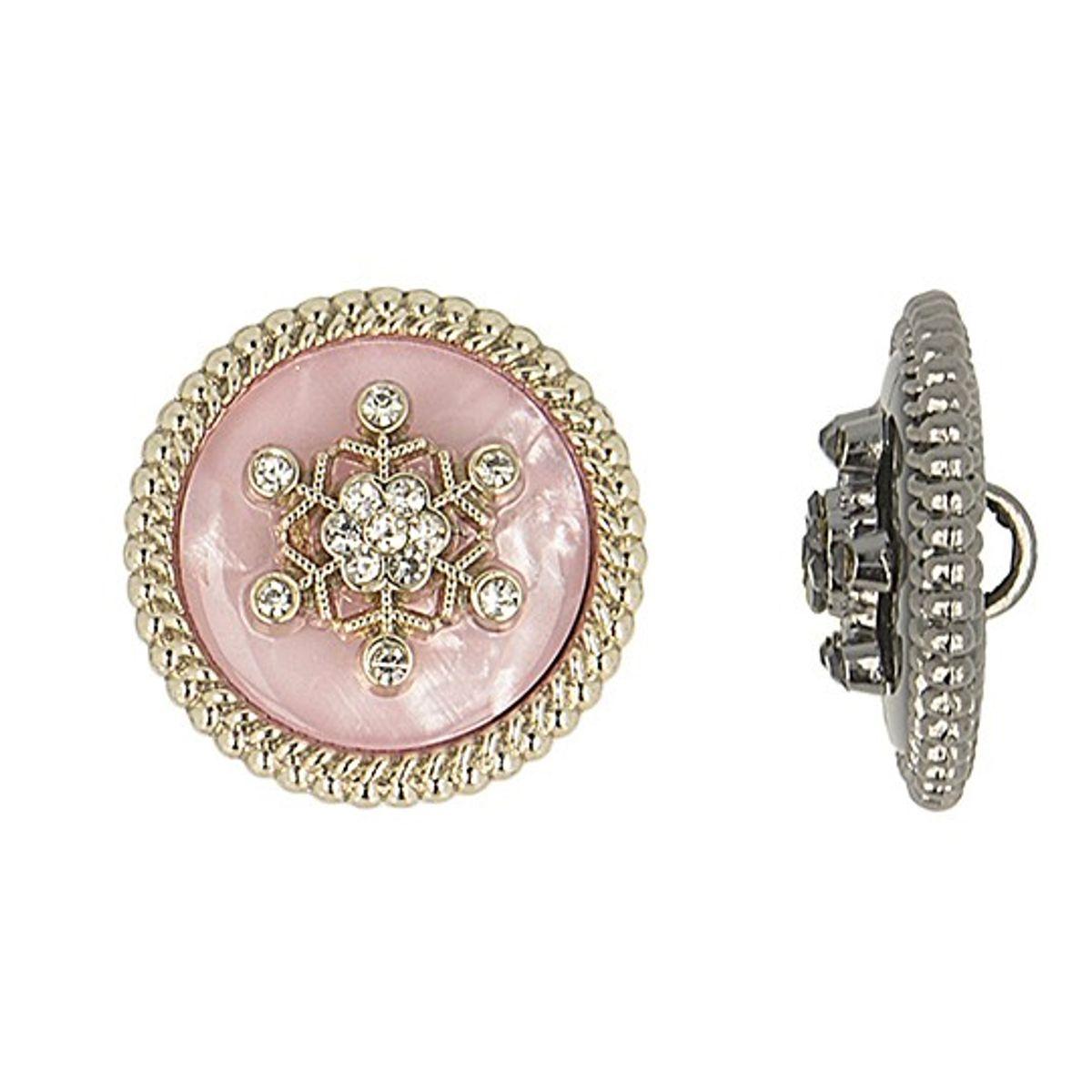 Bouton métal flocon de neige strass - Rose
