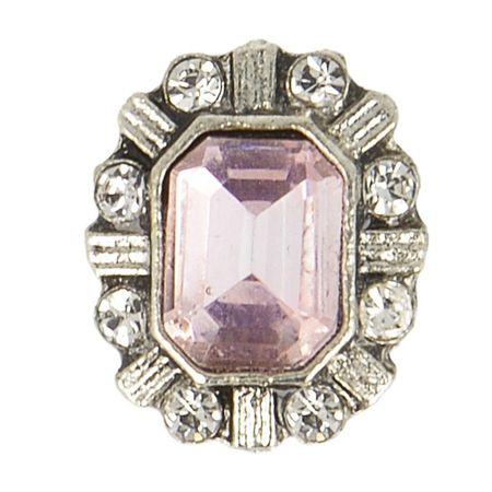 Bouton métal bijoux strass - Rose