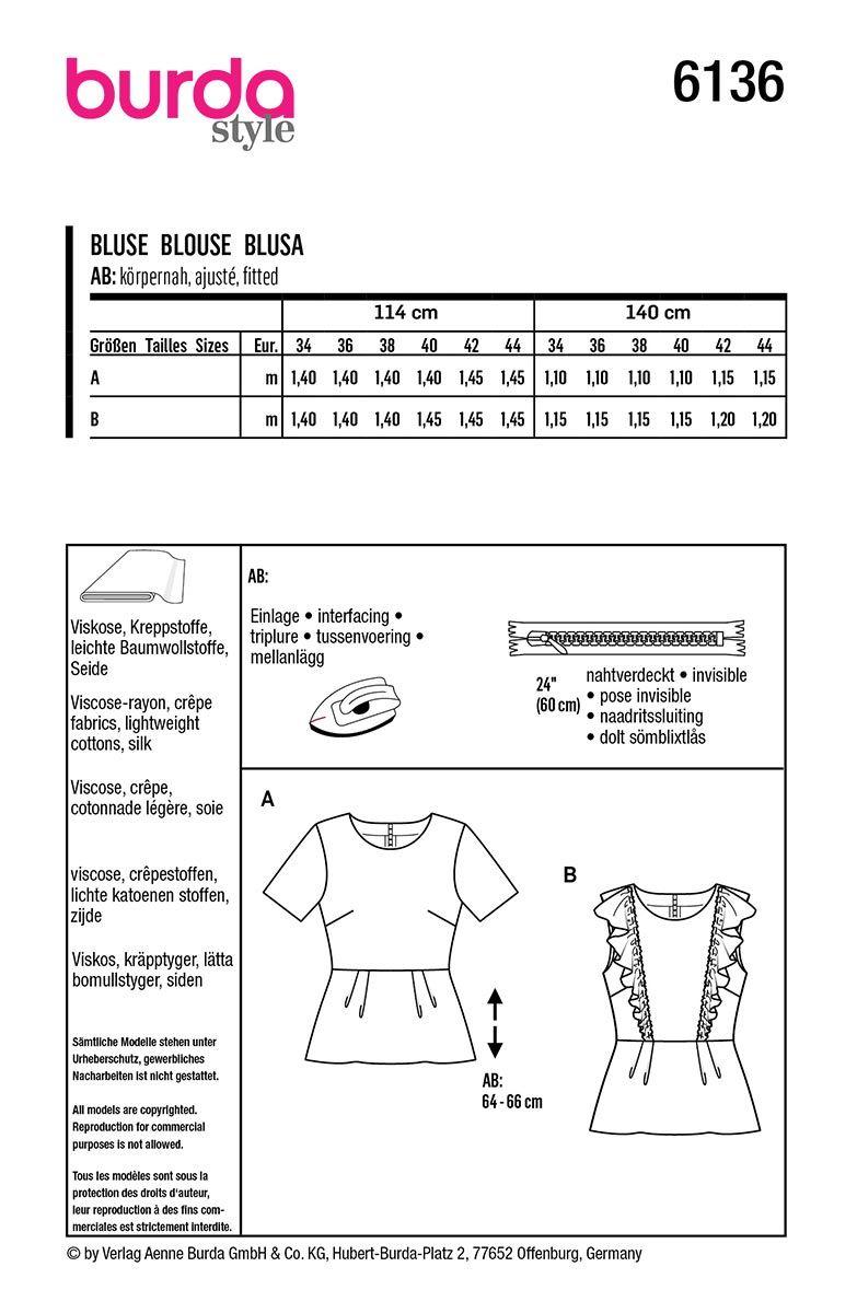 Patron de blouse - Burda 6136