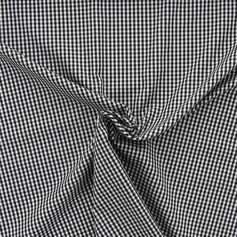 Tissu popeline de coton - Vichy petits carreaux - Noir