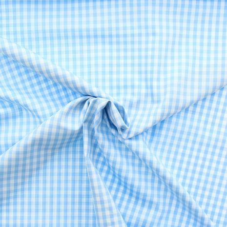 Tissu popeline de coton - Vichy carreaux moyen - Bleu ciel