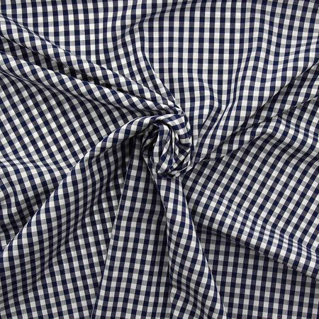 Tissu popeline de coton - Vichy carreaux moyen - Bleu marine