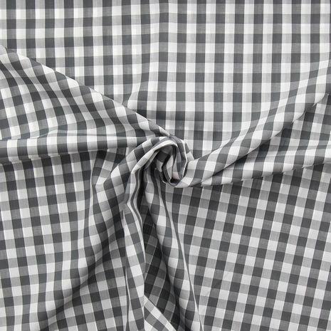 Tissu popeline de coton - Vichy grands carreaux - Gris