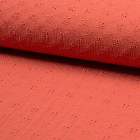 Tissu double gaze broderie anglaise fleurs - Corail