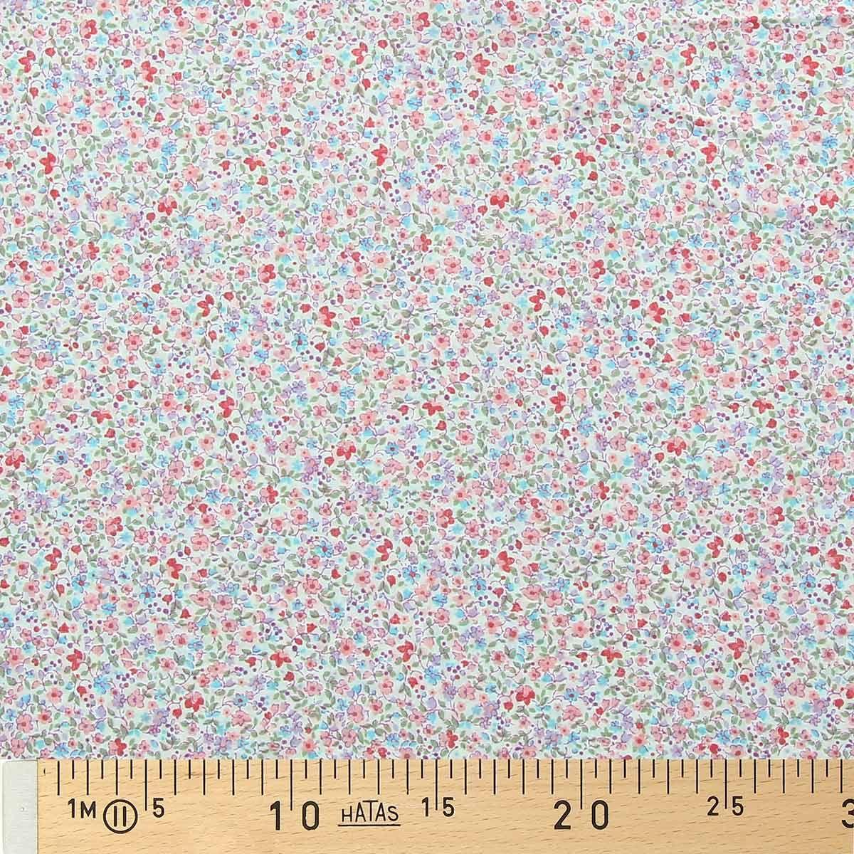 Tissu voile de coton fleuri BIO - Fleuri rose et rouge
