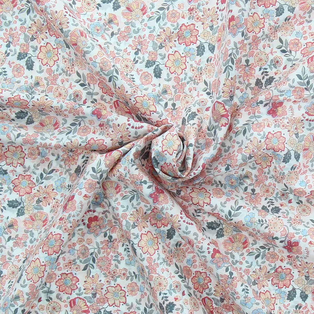 Tissu voile de coton fleuri BIO - Fleuri jaune et corail