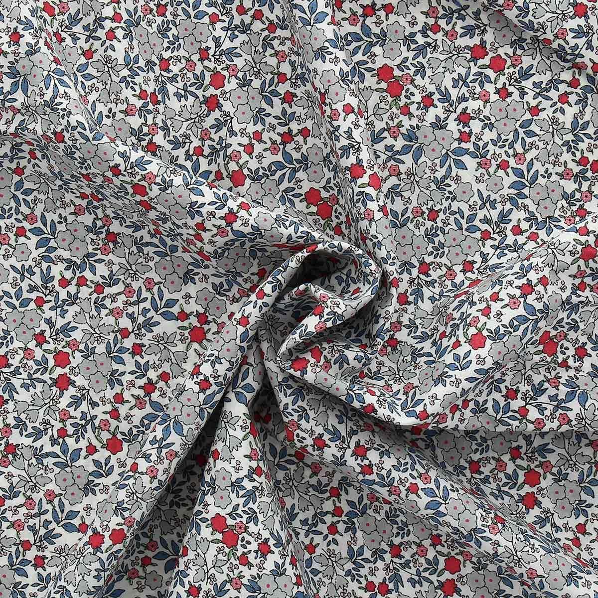 Tissu voile de coton fleuri BIO - Fleuri rouge et bleu