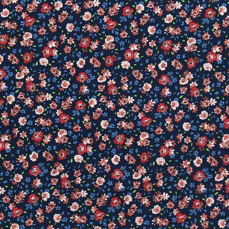 Tissu voile de coton fleuri BIO - Marine motifs fleuris