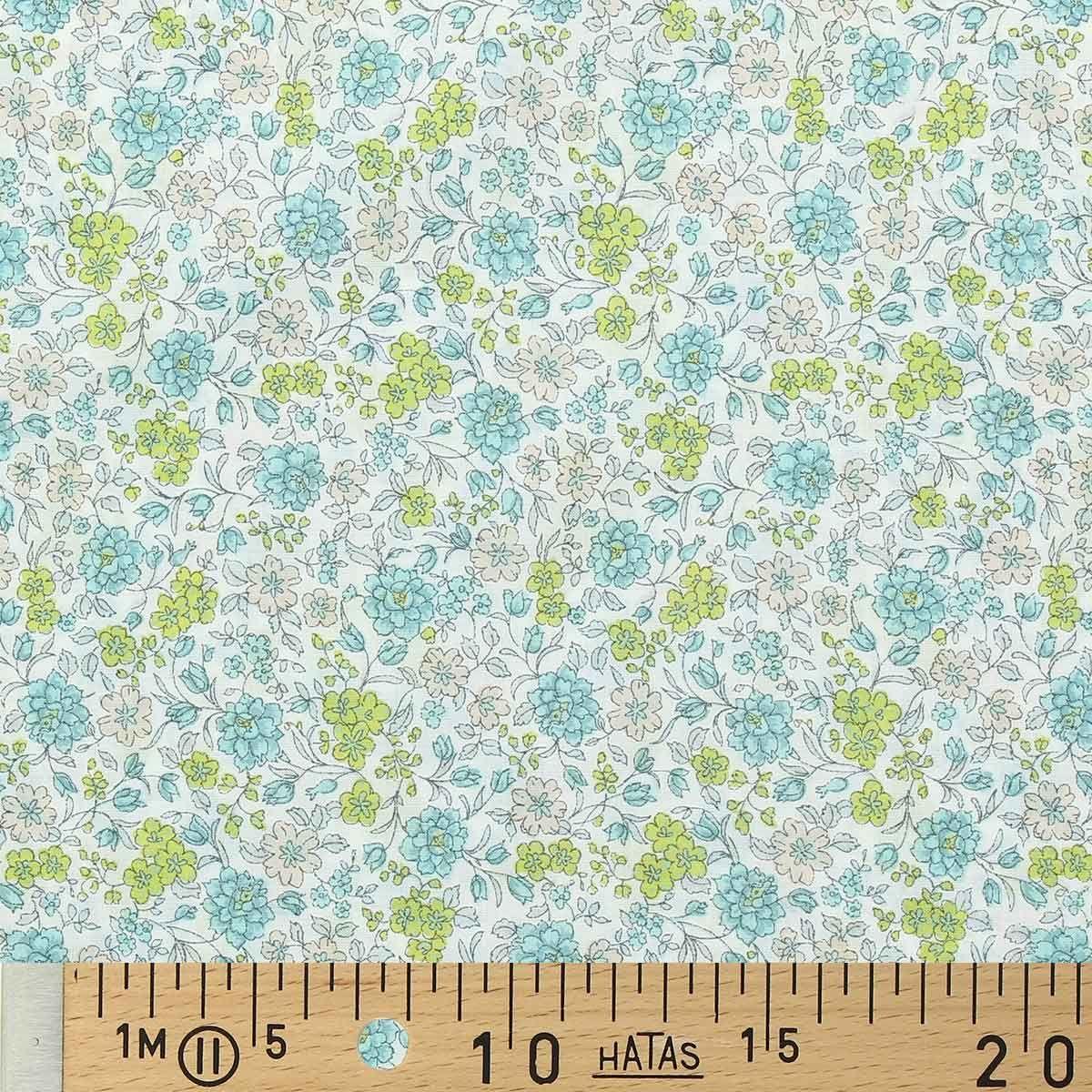 Tissu voile de coton fleuri BIO - Fleuri jaune et ciel