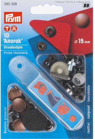 Boutons pression anorak Cuivre antique avec outil 15 mm