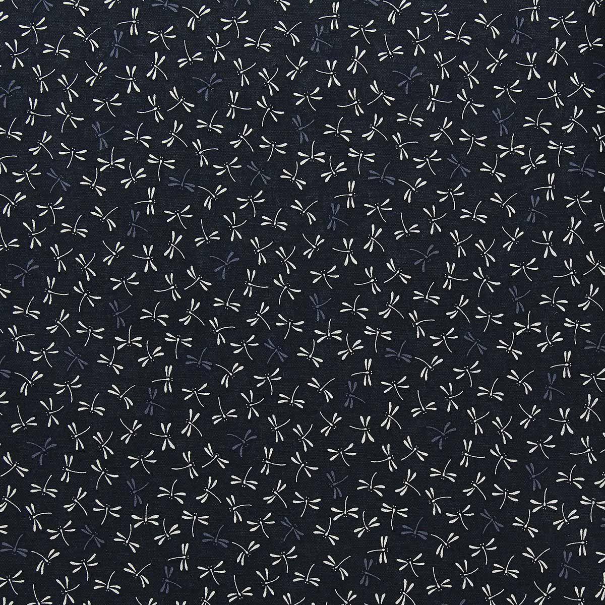 Tissu coton sashiko Sevenberry - Libellules fond noir