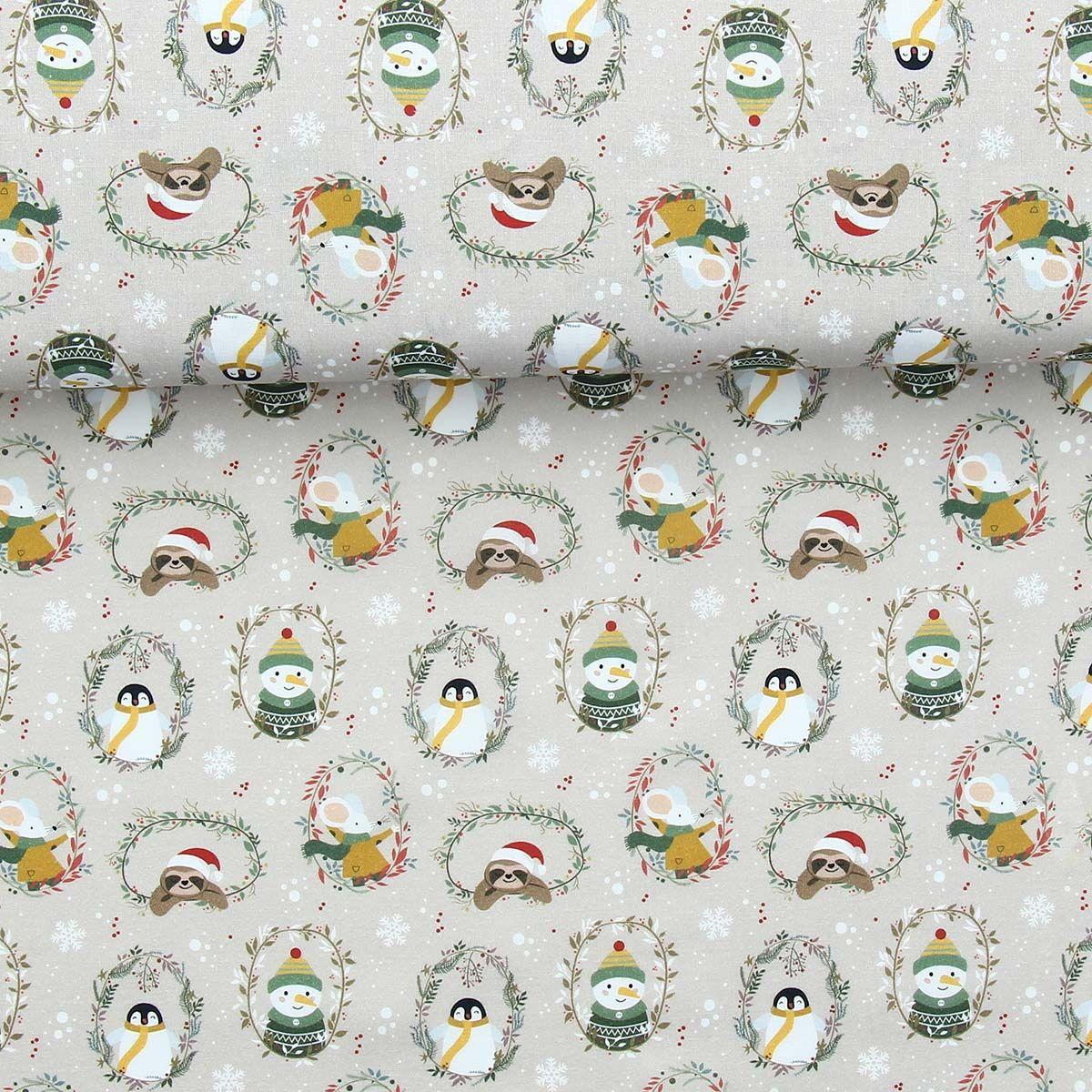 Tissu popeline de coton BIO - Couronnes de noël et animaux