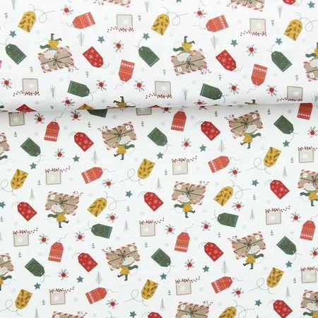 Tissu popeline de coton BIO - Etiquettes et souris