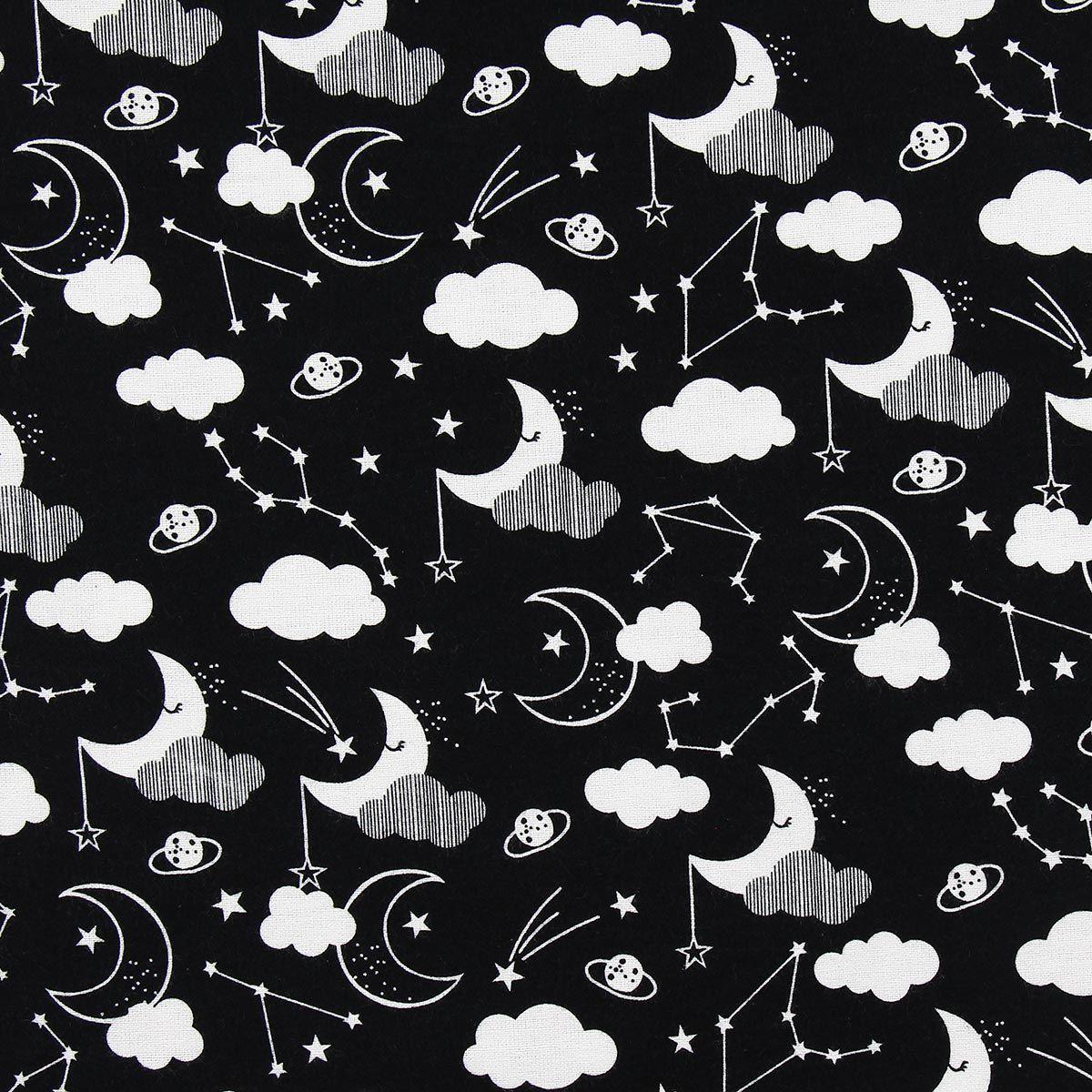 Tissu flanelle 3 wishes Fabric - Constellation noir et blanc
