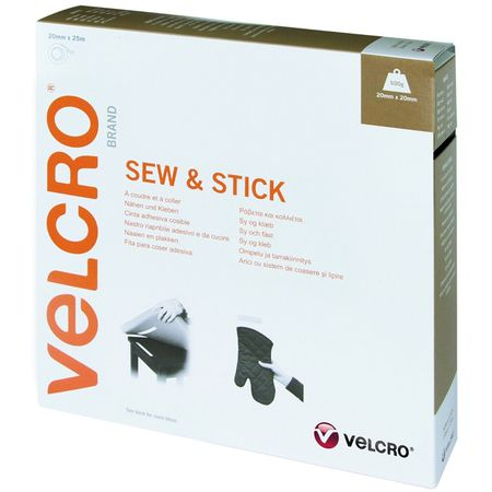 VELCRO® Brand Ruban auto agrippant mixte (adhésif et à coudre) 20mm X 25M blanc