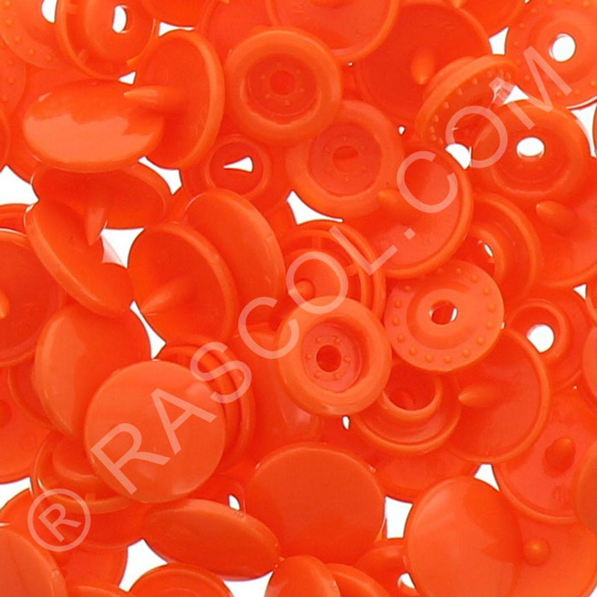 Sachet de 25 pressions résine KAM ronds - Orange vif