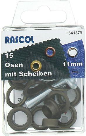 Boite 15 oeillets 11 mm avec outil de pose Rascol - Laiton antique