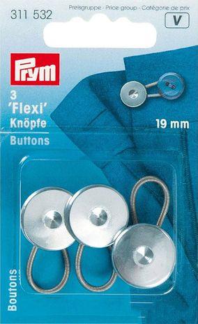 Lot de 3 boutons rallonge 19 mm - Argent
