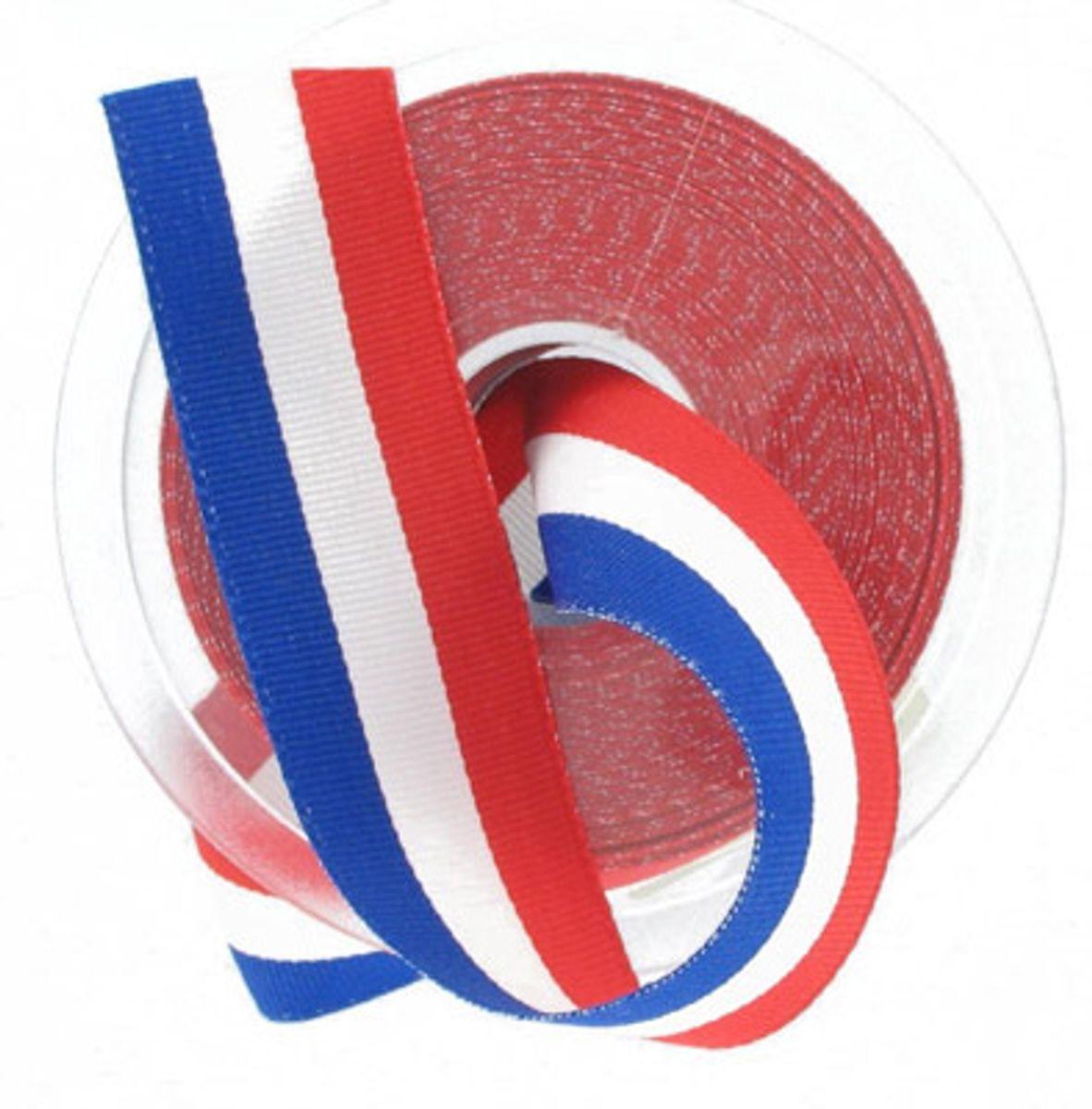 Ruban tricolore français pièce 25 m - 15 mm