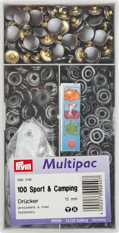 """Multipac de 100 boutons pression """"Sport Camping"""" - Noir"""