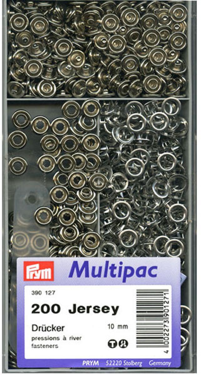Multipac de 200 boutons pression Jersey - Argent 10mm