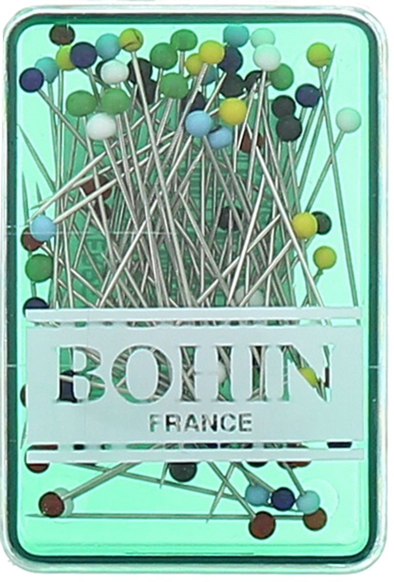 Boite de 80 épingles extra-fines tête de verre assortie Bohin
