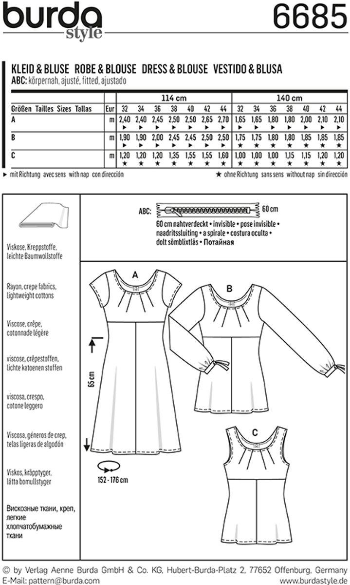 Patron de robe et blouse - Burda 6685
