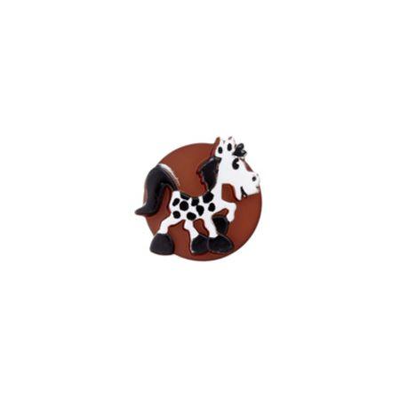 Bouton cheval marron