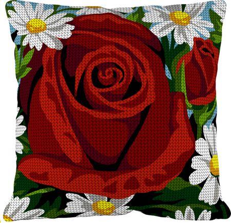 Kit coussin gros trous à broder - La rose rouge