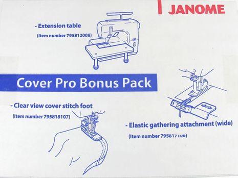 Kit table d´extension, pied pour ourlet couvert et guide pose élastique Janome