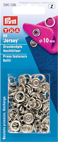 Recharge boutons pression jersey 10 mm Argent