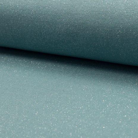 Tissu jersey bord côte lurex - Menthe lurex argent