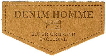 Étiquette à coudre cuir denim - Camel