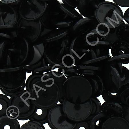 Sachet de 25 pressions résine KAM ronds - Noir
