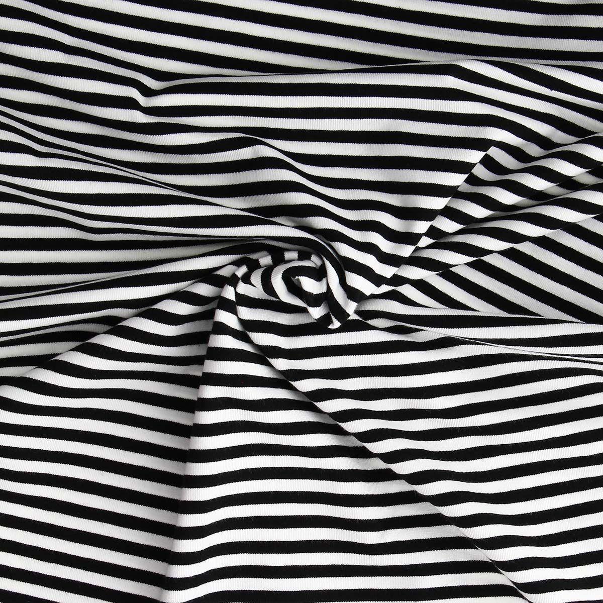 Tissus jersey marinière - Noir