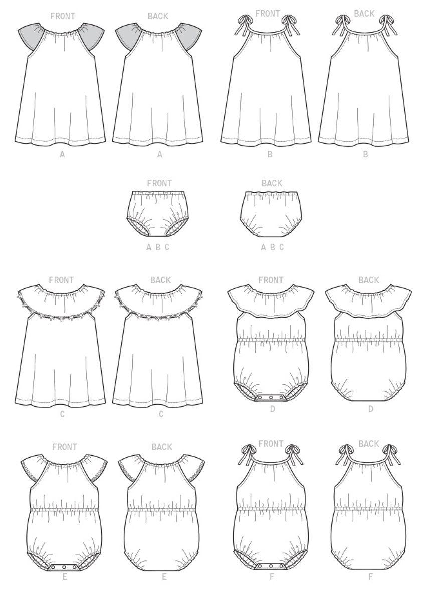 Patron de barboteuse, robe et culotte - Butterick 6549