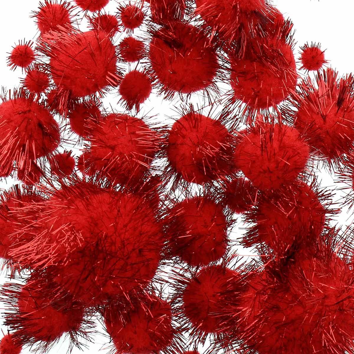 Set de 60 pompons brillants - Rouge