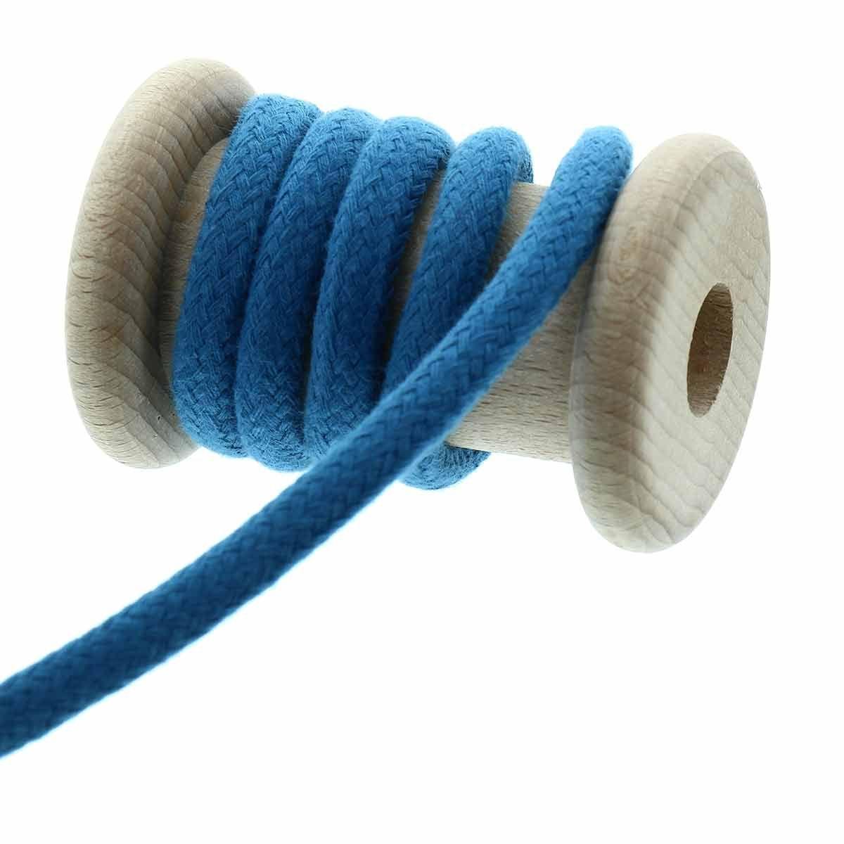 Cordon coton tressé 8 mm - Bleu pétrole